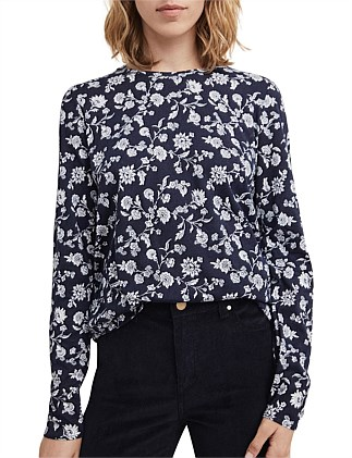 Printed Long Sleeve Crew Top