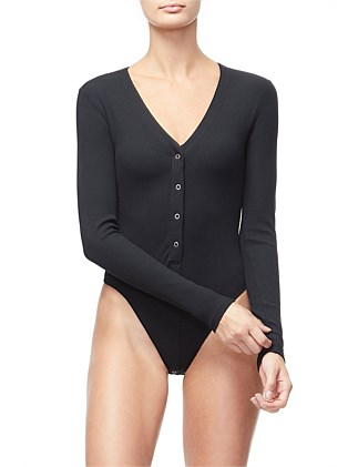 Ribbed Long Sleeve Henley Body Suit
