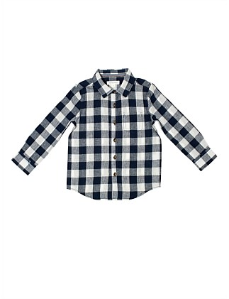 L/S Linen Cotton Check Shirt (Boys 3-7 Years)