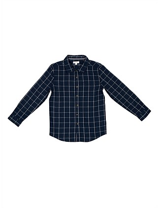 L/S Linen Cotton Check Shirt (Boys 8-16 Years)