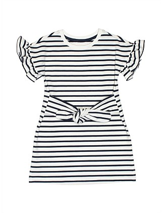 GIRLS STRIPE TIE SWEATER DRESS