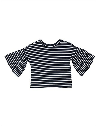 GIRLS STRIPE BELL SLEEVE TEE