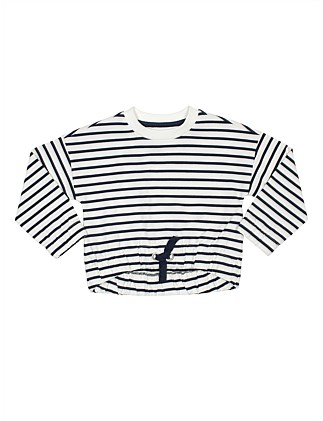 GIRLS STRIPE SWEAT TOP
