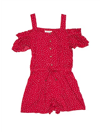 GIRLS SPOT PRINT DOBBY PLAYSUIT