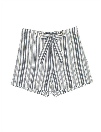 GIRLS STRIPE TIE WAIST SHORT