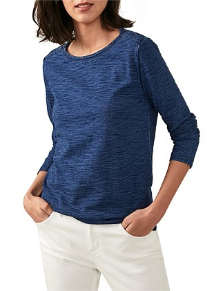 Long Sleeve Cotton Indigo Jersey T-Shirt