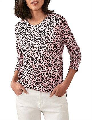 Linen Cotton Ocelot Print T-Shirt