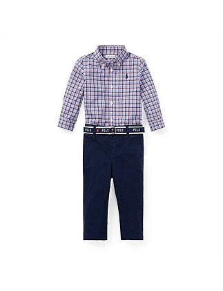Plaid Shirt & Belted Chino Set (12-24 Months)