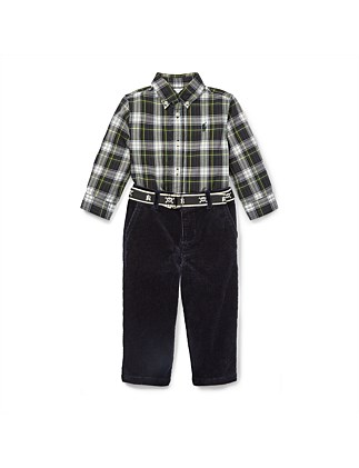 Plaid Shirt & Belted Pant Set (12-24 Months)