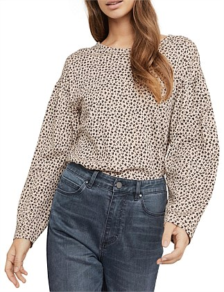 Print Ruched Sleeve Top