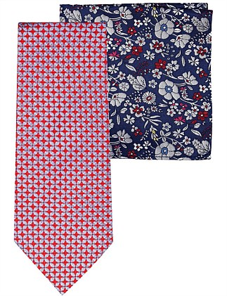 Geo Tie & Floral Pocket Square