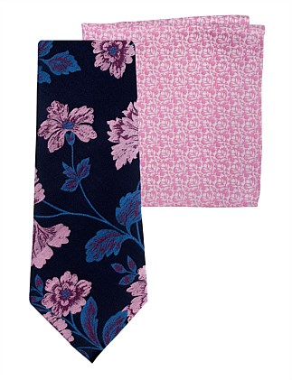 Floral Tie & Leaf Pocket Square
