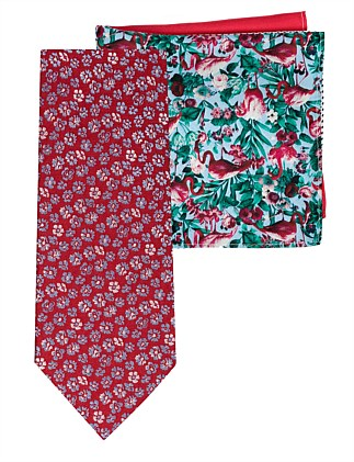 Floral Tie & Flamingo 4sq Pocket Square