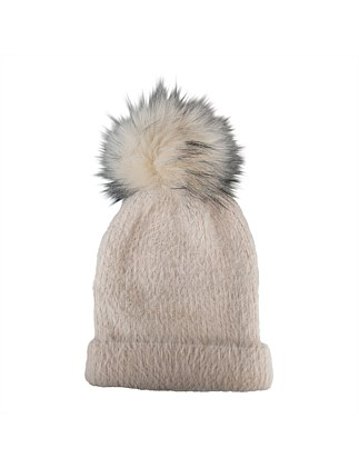 Knit beanie with fur pompom