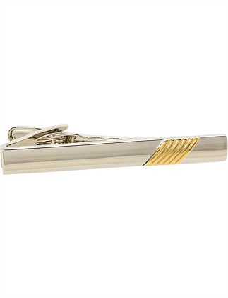 Polished Rhodium/Gold TIE BAR