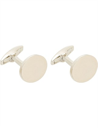 RHODIUM PLATED OVAL CUFFLINK