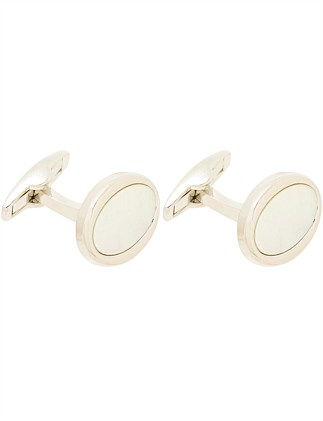 RHODIUM PLATED MOP CUFFLINK