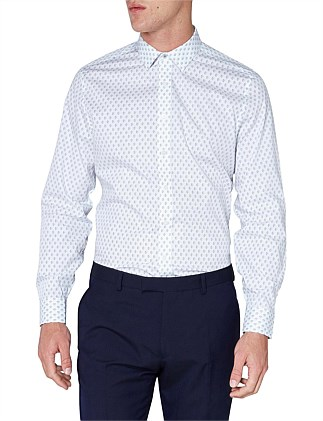 LS FORMAL GEO PRINT SHIRT