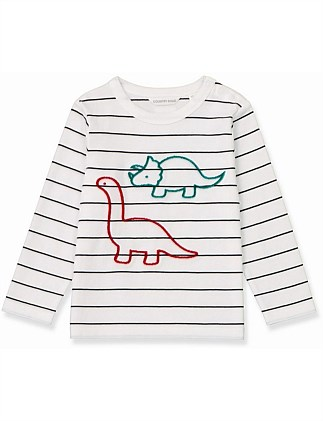 Stripe Flock Dino T-Shirt (Baby Boys 0-2)