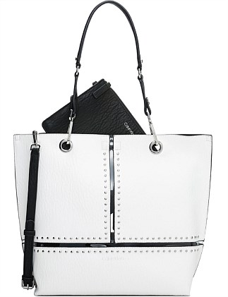 SONOMA NORTH SOUTH REVERSIBLE TOTE WHITE STUD