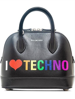 VILLE TOP HANDLE 'I LOVE TECHNO' BAG XXS