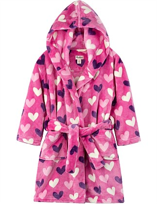 Multi Hearts Fleece Robe