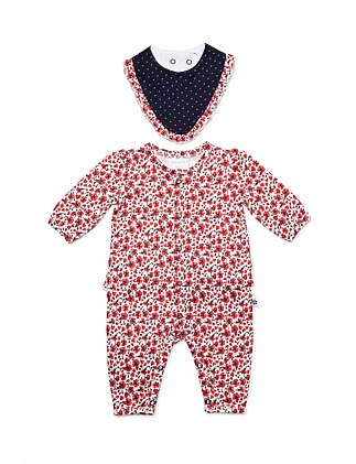 Footless Studsuit & Bib(NB-12M)