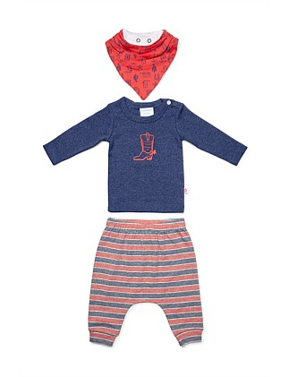 3Pc Set - Top, Pant & Bib(NB-12M)