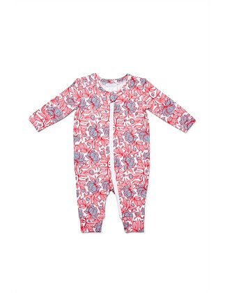 Cotton Elastane Floral Zipsuit(NB-12M)