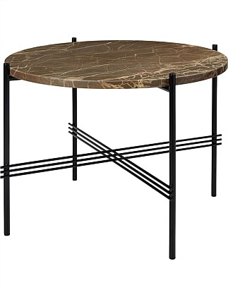 TS Coffee Table Round 55cm Marrone Emperador Marble (brown)
