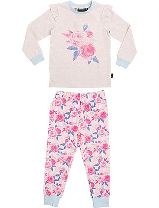 Peony Placement Long Sleeve PJ Set (Girls 2-7 Yrs)
