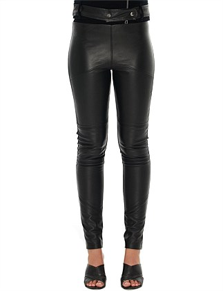 Pants - Leather Panelled Front With Ponti Back