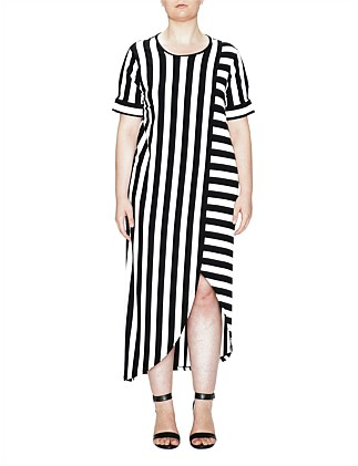 Jersey Dress Striped Split Sleeve Detail