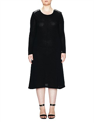 MERINO  LONG SLEEVE A-LINE DRESS