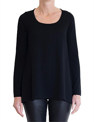 MERINO TRAPEZE LONG SLEEVE TOP