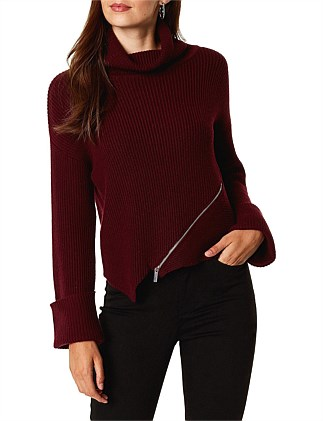 ROLL NECK ZIP JUMPER