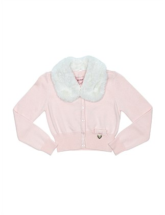 Cardigan with detachable faux fur collar