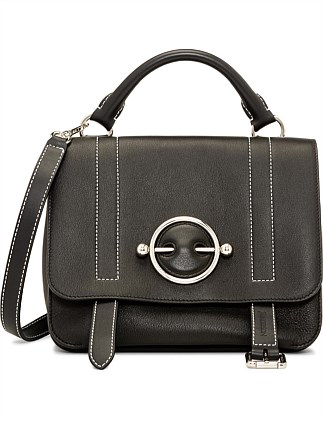 DISC LEATHER SATCHEL BAG