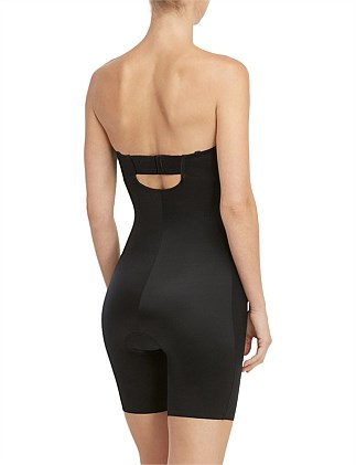 Suit Your Fancy Strapless Cupped Mid Thigh Bodysuit
