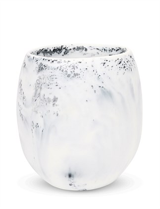 LARGE ROCK CUP WHITE MARBLE