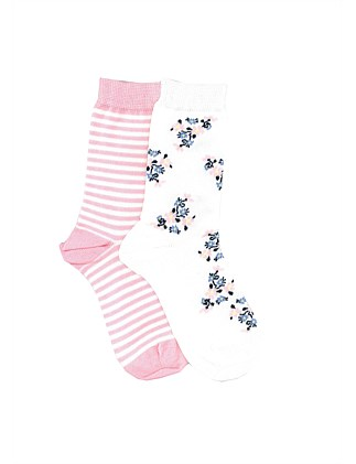 Girls Cluster Floral 2PK Crew