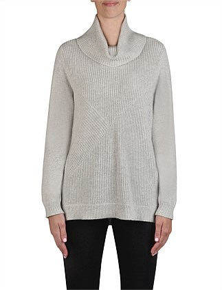 Roll Neck Rib Detail Pullover