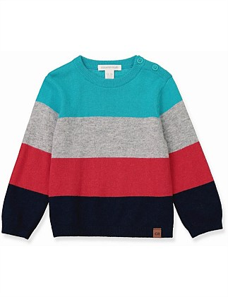 Colour Block Stripe Knit (Baby Boys 0-2)