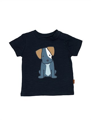 Slub Jersey Tee With Puppy Embroidery(3M-24M)