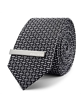 Braxton Pattern Tie With Tie Bar