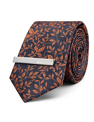 Andrei Pattern Tie With Tie Bar