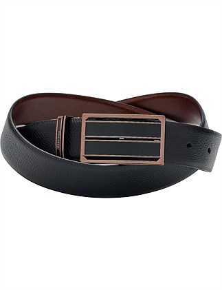 Keiran Reversible Leather Shield Buckle Belt