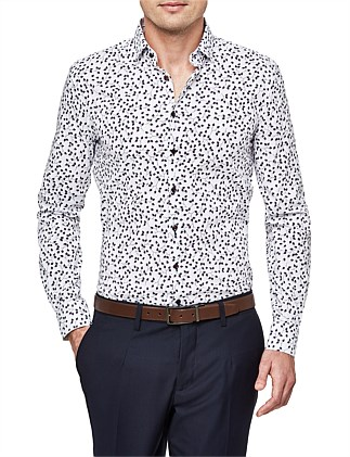 Keesey Slim Stretch Fit Geoprint Shirt