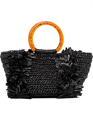 CORALLINA TOP HANDLE RAFFIA TOTE BAG