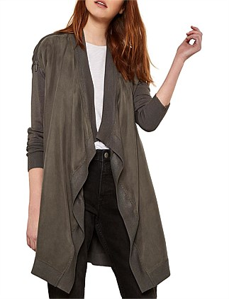 Front Zip Shoulder Cardigan